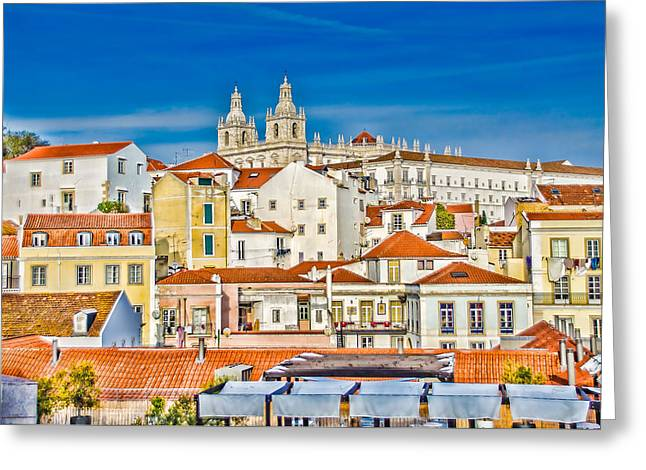 View Of Old Alfama Greeting Card by Julie Palencia