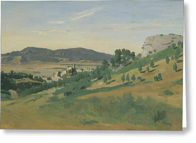 View Of Olevano Greeting Card by Jean-Baptiste-Camille Corot