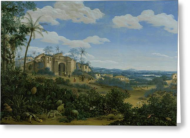 View Of Olinda Brazil Greeting Card by Frans Jansz Post