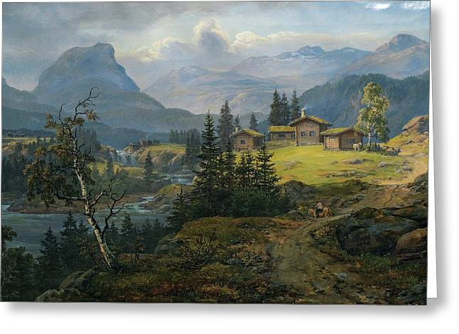 View Of Oslo Farm - Valdres Greeting Card