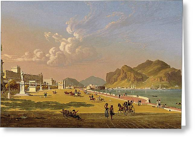 View Of Palermo Greeting Card by Robert Salmon