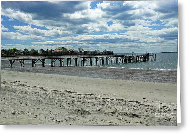 View Of Pier. Fisherman's Beach, Swampscott, Ma Greeting Card