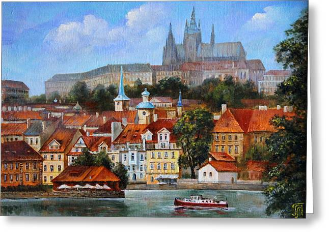 View Of Prague Greeting Card by Leonid Polotsky
