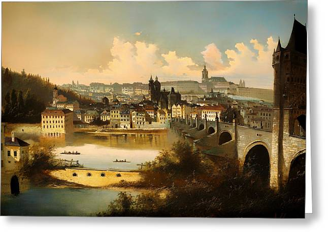 View Of Prague With The Charles Bridge Crossing The Vitava River Greeting Card by Mountain Dreams