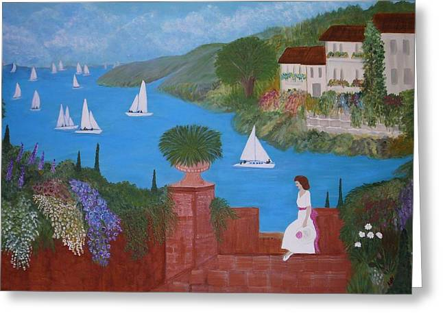View Of Sailboats Greeting Card by Anke Wheeler