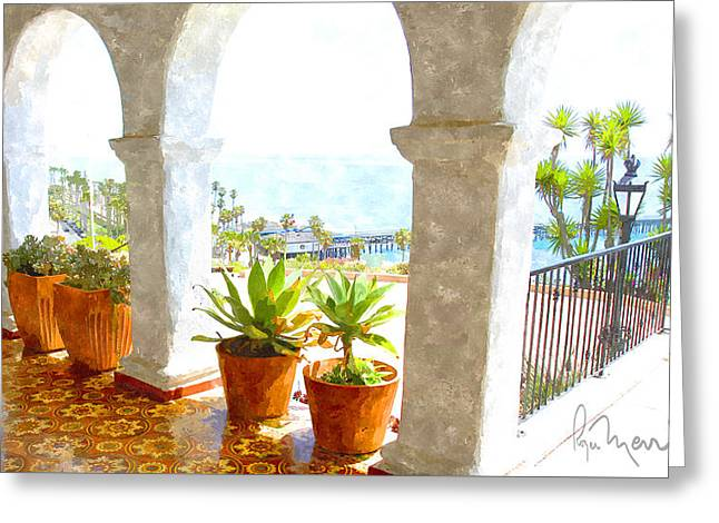 View Of San Clemente Pier Greeting Card by Roger Merrill