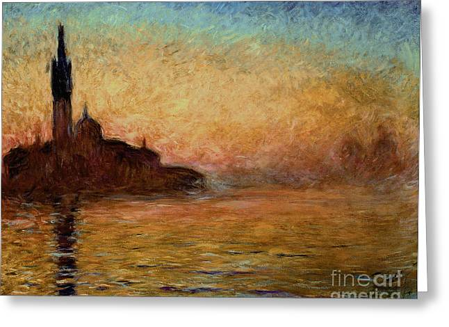 Campanile Greeting Cards - View of San Giorgio Maggiore Venice by Twilight Greeting Card by Claude Monet