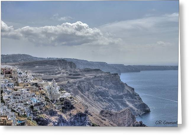 View Of Santorini Greeting Card by CR  Courson