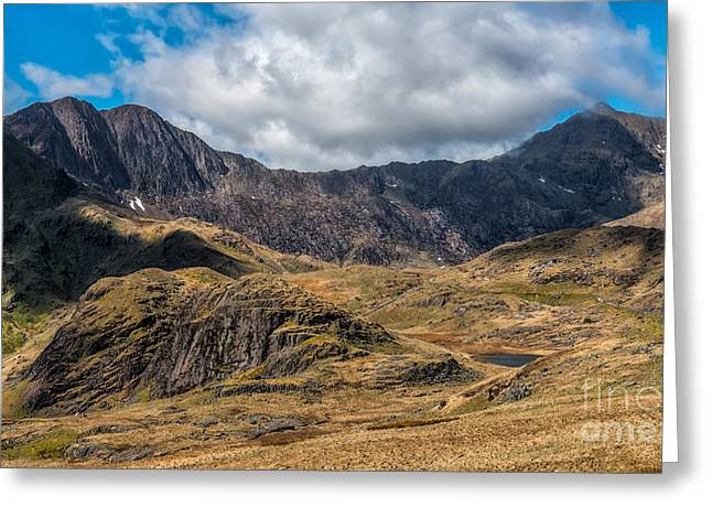 View Of Snowdon Greeting Card by Adrian Evans