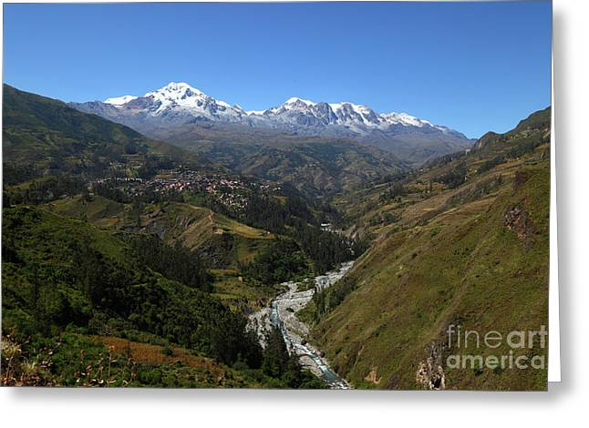 View Of Sorata And Cordillera Real Bolivia Greeting Card by James Brunker