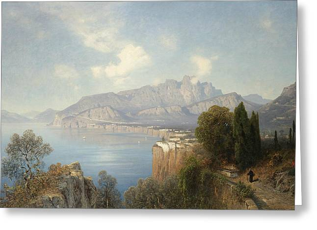 View Of Sorrento Greeting Card by Oswald Achenbach