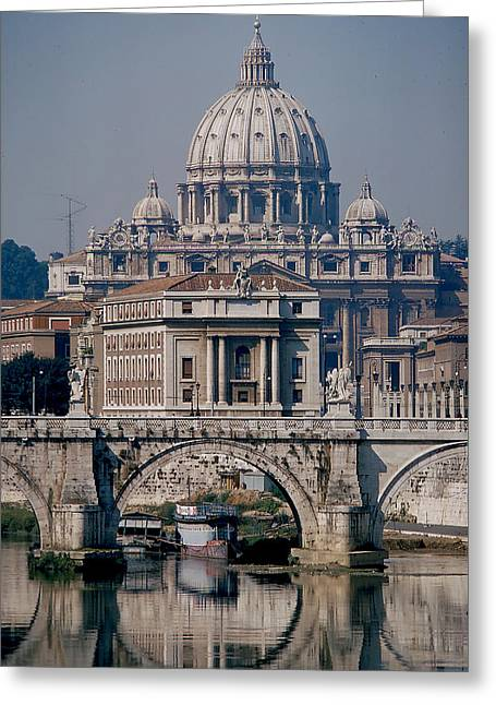 View Of St Peters From Tiber River Greeting Card by Carl Purcell