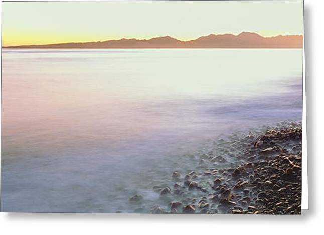 View Of Sunrise Over Pacific Ocean Greeting Card by Panoramic Images