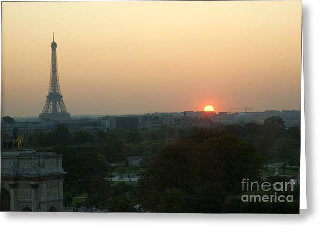 View Of Sunset From The Louvre Greeting Card
