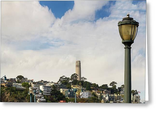 View Of Telegraph Hill Neighborhood San Francisco Greeting Card