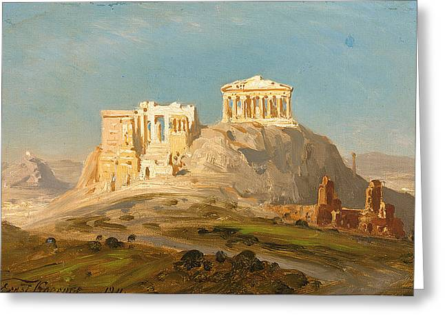 View Of The Akropolis Athens Greeting Card