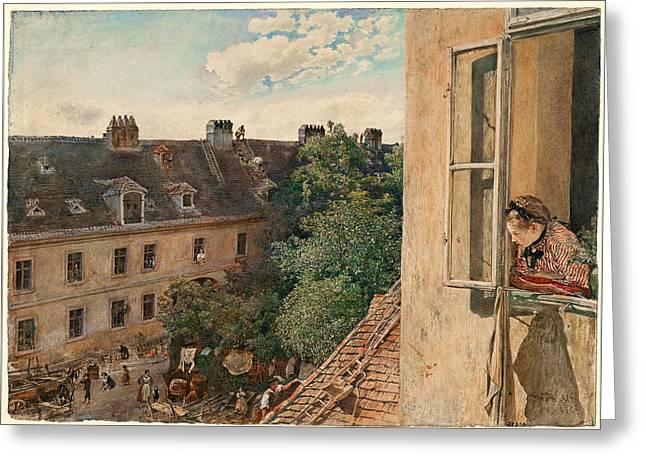 View Of The Alservorstadt 1872  Greeting Card