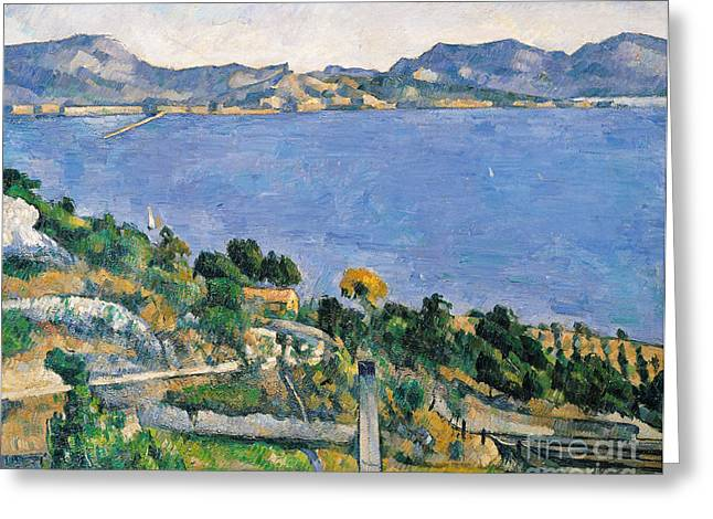 Post-impressionist Greeting Cards - View of the Bay of Marseilles Greeting Card by Paul Cezanne