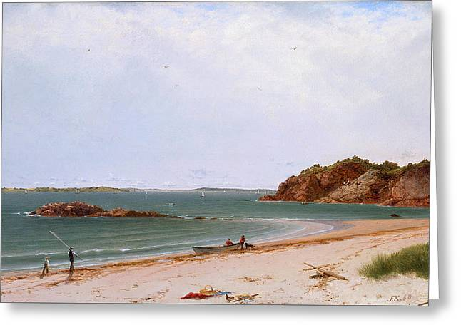 View Of The Beach At Beverly Massachusetts Greeting Card by John Frederick Kensett