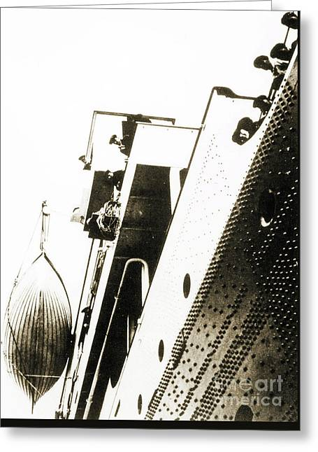 View Of The Bottom Of One Of The Titanic Lifeboats From The Dock Greeting Card by English School