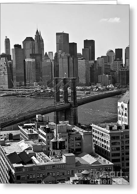 View Of The Brooklyn Bridge Greeting Card by Madeline Ellis
