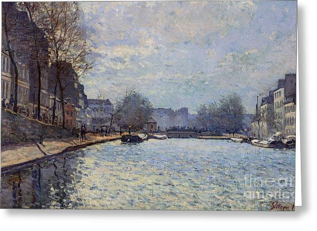 View Of The Canal Saint-martin Paris Greeting Card