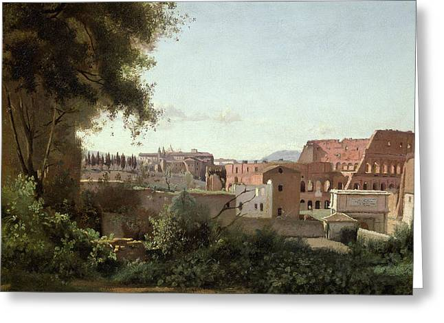 Midi Greeting Cards - View of the Colosseum from the Farnese Gardens Greeting Card by Jean Baptiste Camille Corot