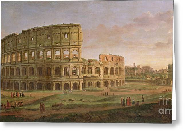 View Of The Colosseum With The Arch Of Constantine Greeting Card