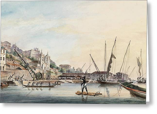View Of The Dockyard, At Bahia Or San Salvador  Greeting Card by Thomas L Hornbrook