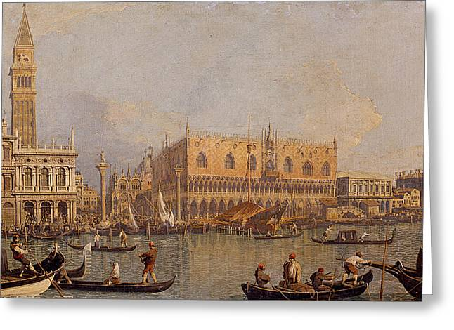View Of The Ducal Palace In Venice Greeting Card by Canaletto