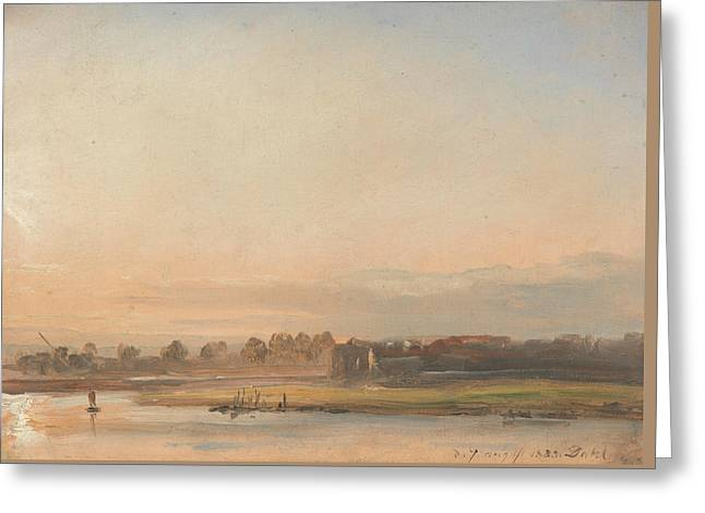View Of The Elbe Greeting Card by Johan Christian Dahl