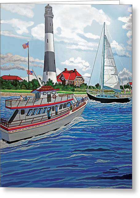 View Of The Fire Island Lighthouse From The Great South Bay Greeting Card