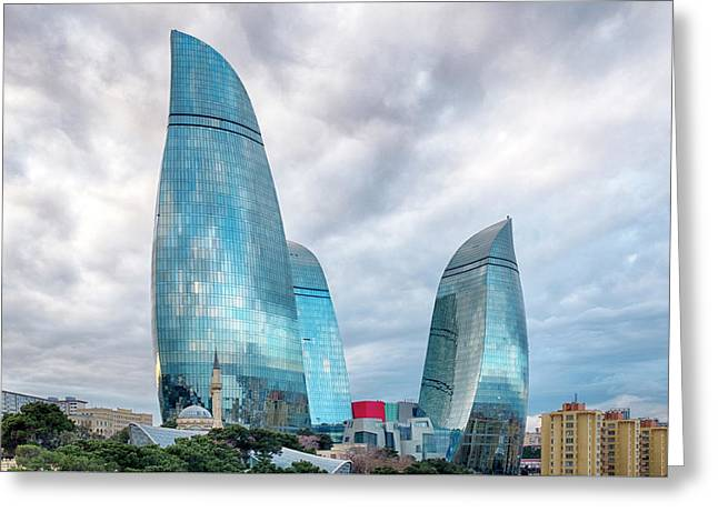 Greeting Card featuring the photograph View Of The Flame Towes Of Baku by Fabrizio Troiani