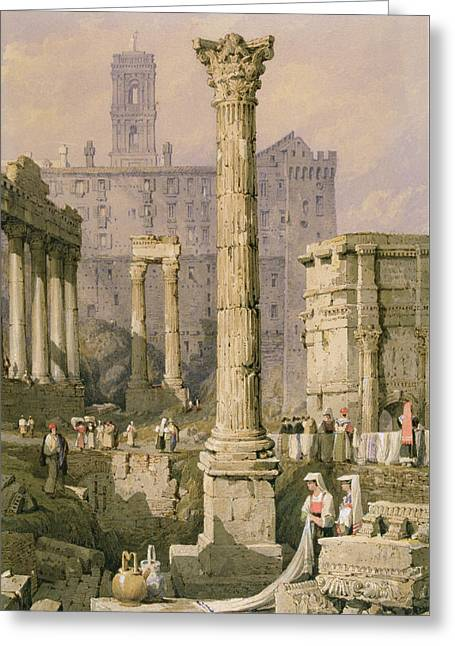 View Of The Forum, Rome  Greeting Card by Samuel Prout