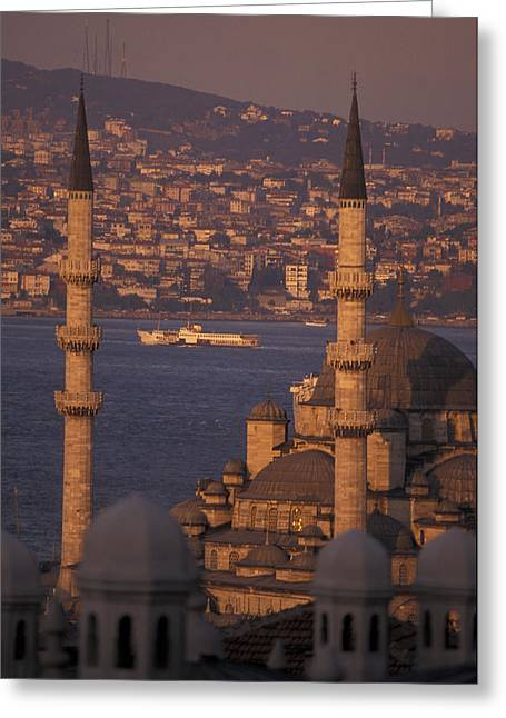 Golden Horn Greeting Cards - View Of The Golden Horn And Asia Greeting Card by Richard Nowitz