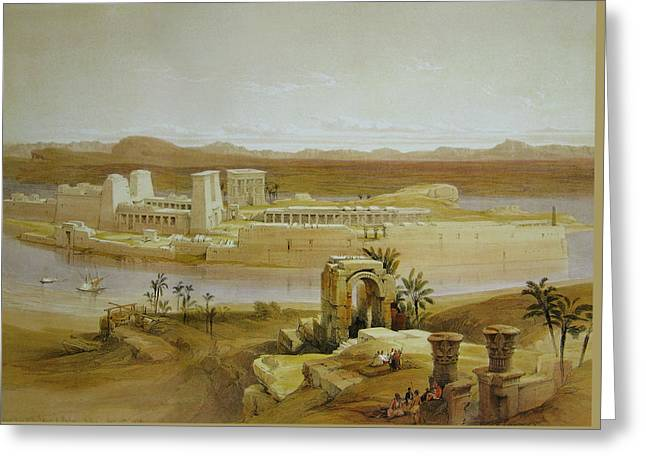View Of The Island Of Philae With Isis Temple And Trajan's Kiosk, In The Nile, Nubia Greeting Card by David Roberts