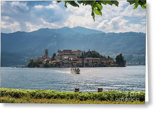 View Of The Island Of San Giulio In Lake Orta Italy Greeting Card