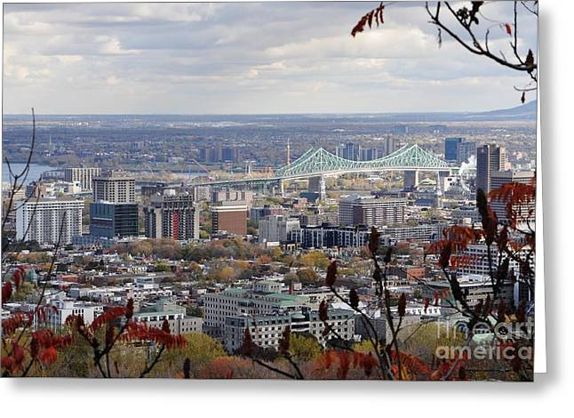 View Of The Jacques Cartier Bridge Greeting Card by Reb Frost