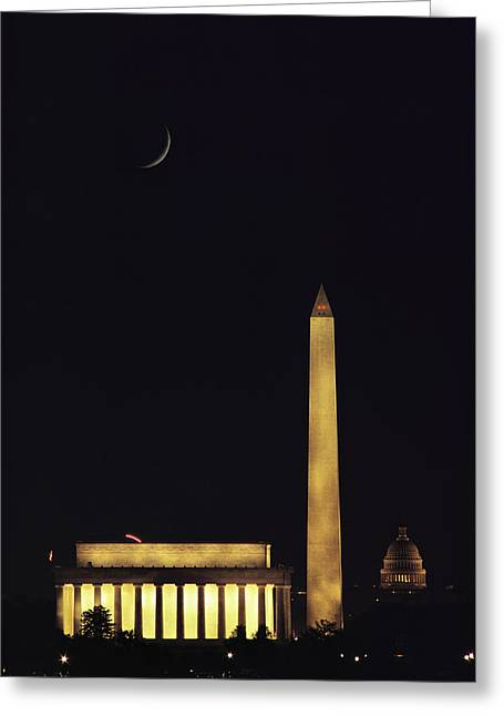 Monolith Greeting Cards - View Of The Lincoln And Washington Greeting Card by Karen Kasmauski