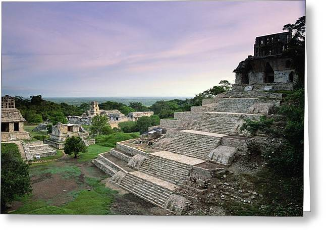 Pre Columbian Architecture And Art Greeting Cards - View Of The Mayan Ruins At Palenque Greeting Card by Kenneth Garrett