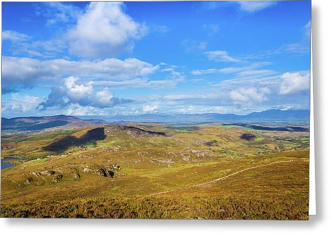 Greeting Card featuring the photograph View Of The Mountains And Valleys In Ballycullane In Kerry Irela by Semmick Photo