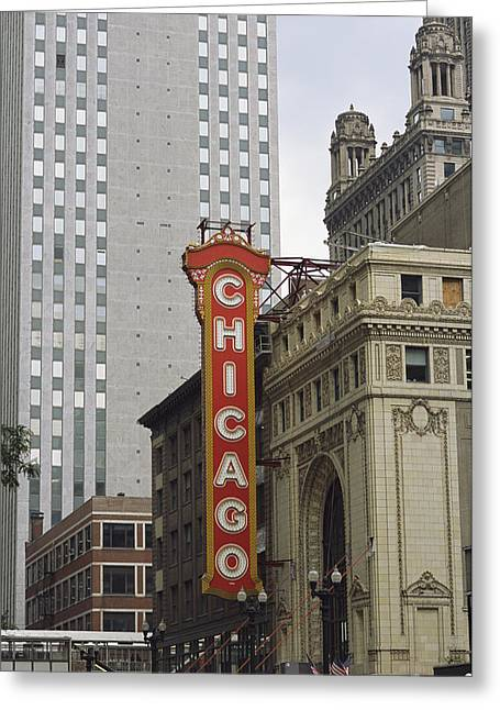 View Of The Neo-baroque Chicago Theatre Greeting Card by Paul Damien