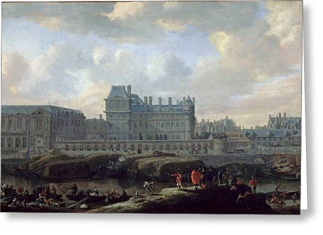 View Of The Old Louvre And Small Bourbon  Greeting Card by MotionAge Designs