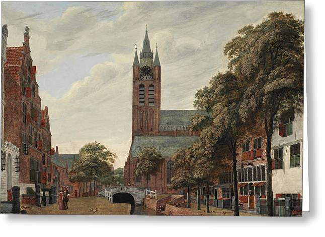 View Of The Oude Delft Canal Greeting Card by Jan Van der Heyden