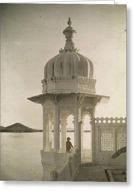 View Of The Palace Of Maharajas Pond Greeting Card by Gervais Courtellemont