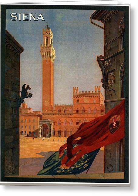 View Of The Palazzo Publico In Siena, Tuscany - Italia - Vintage Illustrated Poster Greeting Card
