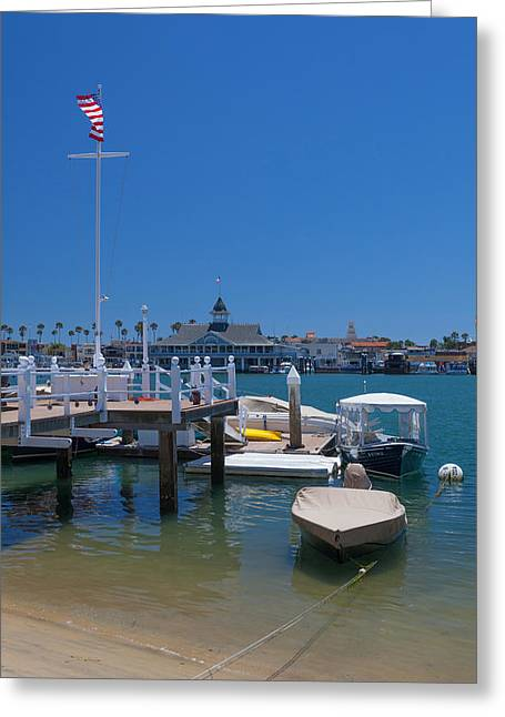 View Of The Pavilion At Newport Beach Harbor Greeting Card by Cliff Wassmann