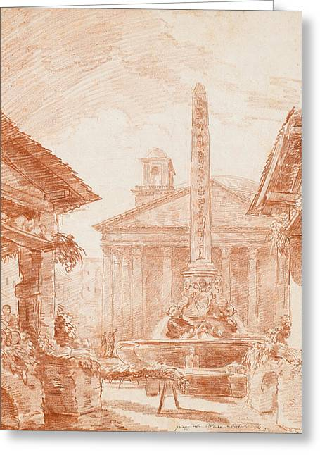 View Of The Piazza Della Rotonda In Rome With The Tritons Fountain And The Pantheon Facade Greeting Card by Hubert Robert