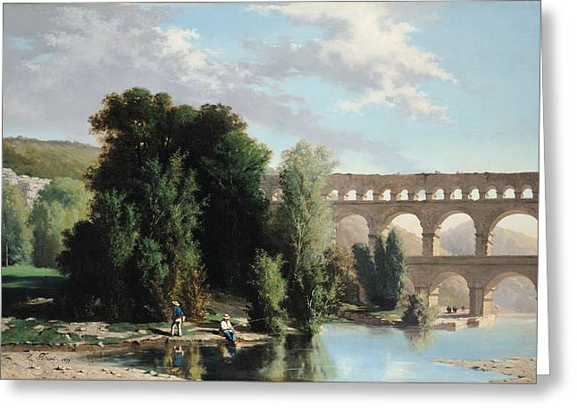 View Of The Pont Du Gard Greeting Card by Henri Marie Poinsot