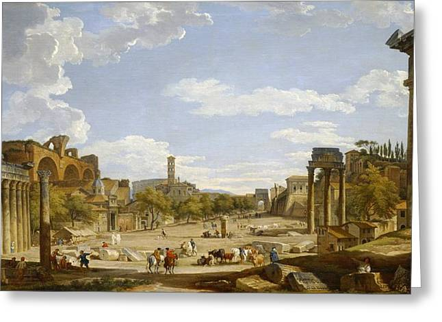 View Of The Roman Forum Greeting Card by Giovanni Paolo Panini